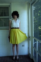 Susana Monaco dress - Anthropologie blouse - H&M belt - Target shoes - H&M purse