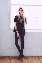 peplum asos top - sam edelman boots - 2nd One jeans