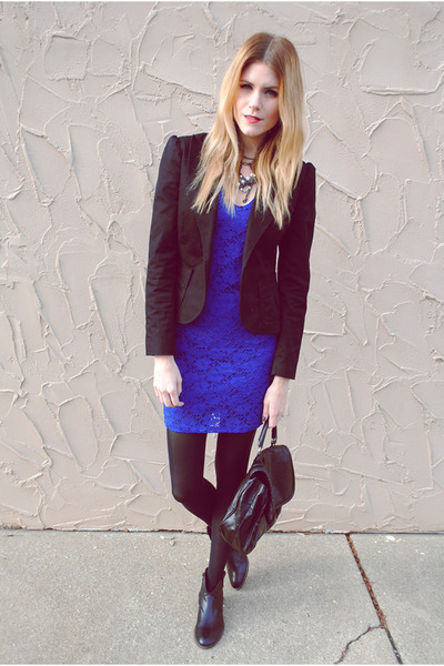 lace Francescas Collections dress - Steve Madden boots - H&M blazer