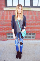 Francescas Collections purse - fringe Minnetonka Moccasin boots - Zara jeans