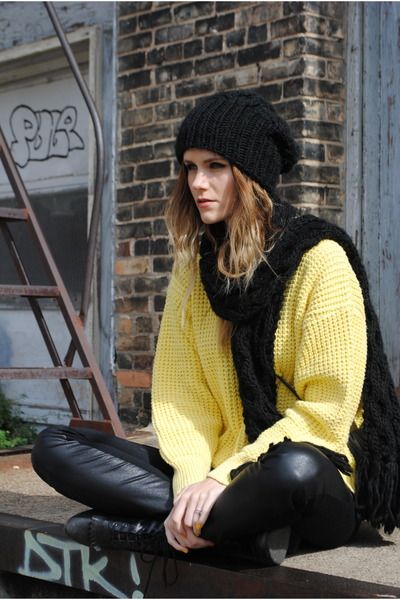 knitted BDG hat - yellow sweater thrifted vintage sweater