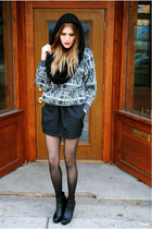 vintage sweater - H&M scarf - American Apparel skirt