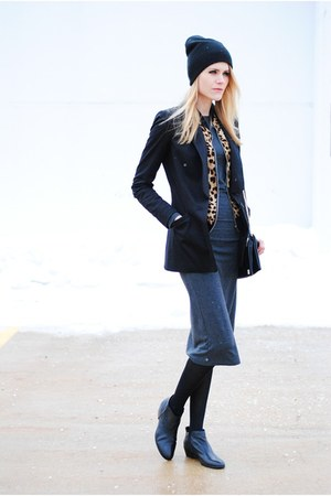 midi H&M dress - sam edelman boots - boyfriend sic couture blazer