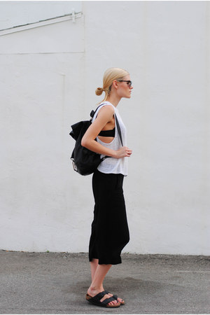 asos bag - Birkenstock sandals - American Apparel top