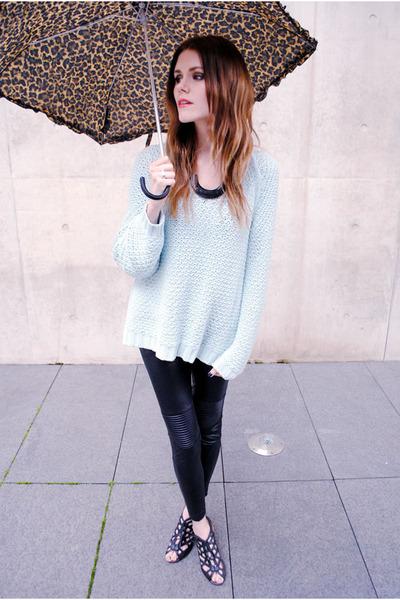 knit mint Zara sweater - Love Culture leggings - umbrella H&M accessories