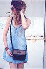 Denim-mango-dress-south-western-minnetonka-moccasin-bag