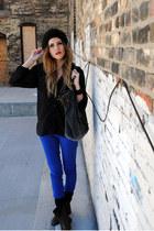 sheer H&M shirt - colored denim Jolt jeans - knit BDG hat - BDG bag