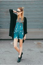 denim asos jumper - sam edelman boots - madison & berkley cardigan