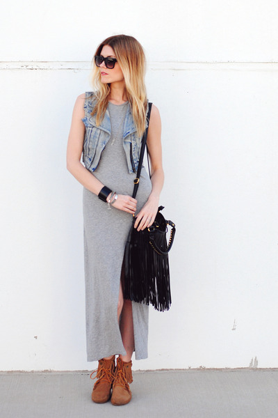 maxi H&M dress - Minnetonka Moccasin boots