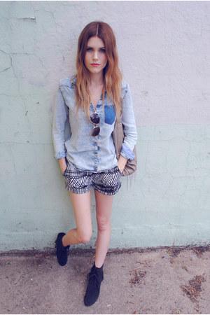 H&M shorts - moccasins Minnetonka shoes - asos bag - denim Zara top