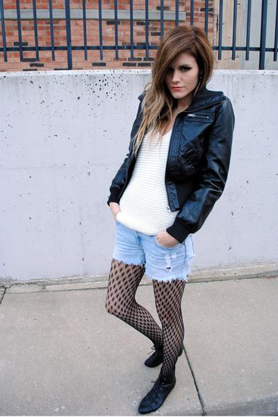 cutoff vintage shorts - Aldo boots - leather JouJou jacket - knit Zara sweater
