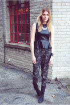 leather peplum shop sosie top - Steve Madden boots - Forever 21 pants
