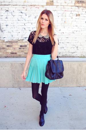 pleated skirt shop sosie skirt - Steve Madden boots - lace Forever 21 top