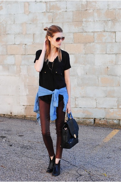 coated Paige Denim pants - Steve Madden boots - chambray H&M top