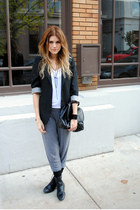 H&M bag - Halogen blazer - Aldo socks - harem pants H&M pants - H&M necklace