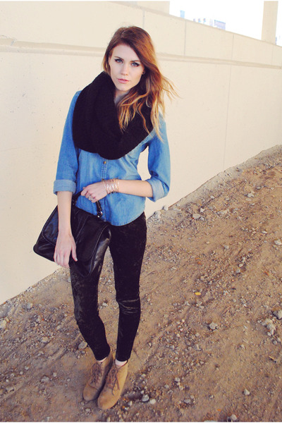 velvet Urban 1972 leggings - chambray H&M shirt - snood H&M scarf