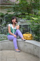 amethyst human jeans - mustard unica hija bag - silver Parisian flats