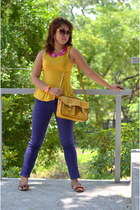 mustard unica hija bag - purple Wrangler jeans - orange Parisian flats
