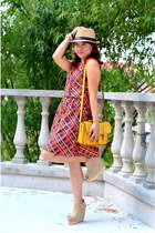 orange unica hija dress - camel kultura hat - mustard unica hija bag