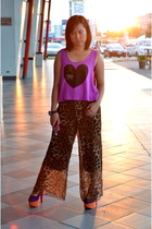 amethyst Forever 21 top - brown leopard palazzo Preppy pants