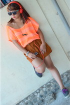 orange Forever 21 top - bronze Forever 21 shorts
