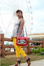 Yellow-abercomine-fitch-jeans-red-satchel-impulse-co-bag