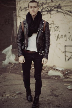 dr marten boots - black jeans - leather biker jacket - black circle scarf - bag