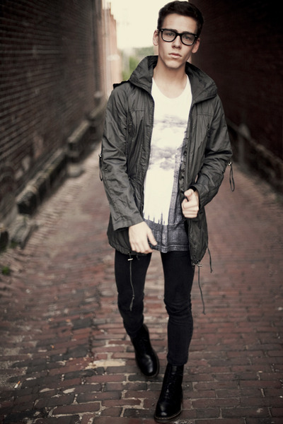 gray f21 jacket - dr marten boots - skinny Levis jeans - forthedistrictus shirt