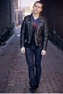 Black-biker-jacket-black-h-m-cardigan-red-flannel-shirt-navy-h-m-jeans-b