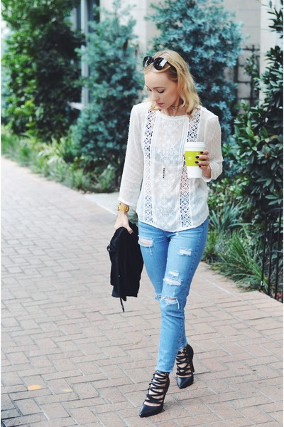 white lace top Nordstrom shirt - blue ripped jeans Topshop jeans