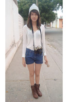 cream Pull & Bear blouse - brown pull&bear boots - periwinkle Aeropostale hat