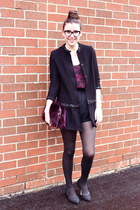 black peplum tweed Zara jacket - magenta fur Prada bag