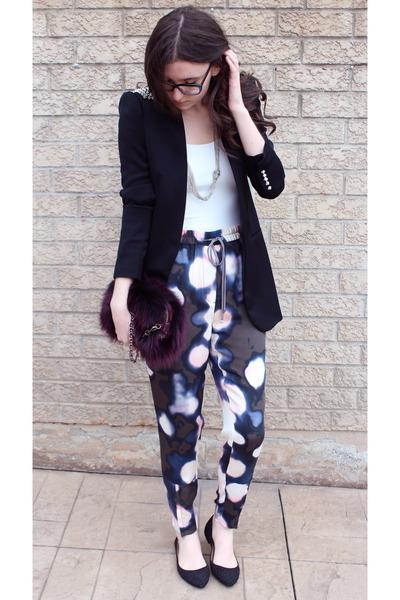 magenta fur Prada purse - black Zara blazer