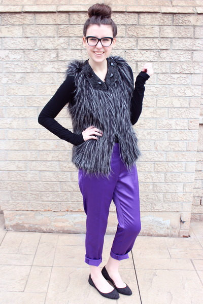 black fur vest cynthia rowley vest - purple silk Vince Camuto pants