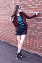 brick red leather jacekt Muubaa jacket - turquoise blue stripes winners sweater