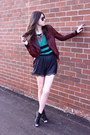 Brick-red-leather-jacekt-muubaa-jacket-turquoise-blue-stripes-winners-sweater