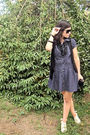 Blue-vintage-dress-white-blanco-shoes-black-made-by-me-vest-black-vintage-