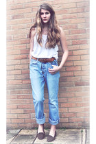 periwinkle my brothers jeans - white racerback Monki top