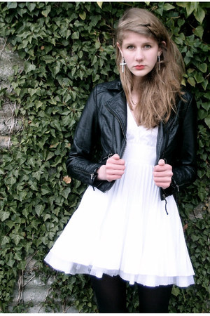 white Jones & jones dress - black leather H&M jacket