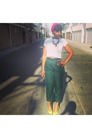 forest green pants - dark green vintage pants - yellow BCBG heels