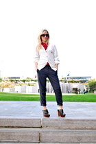 blue Zara pants - white Lacoste sweater - red  blouse - black Steve Madden shoes