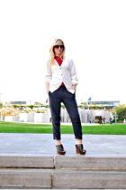 blue Zara pants - white Lacoste sweater - red  blouse - black Steve Madden shoes