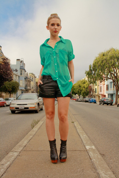 green American Apparel shirt - black Jeffrey Campbell boots