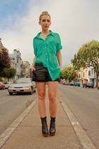 green American Apparel shirt - black Jeffrey Campbell boots