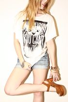 white DimePiece Designs t-shirt - brown clog sandal Jeffrey Campbell shoes