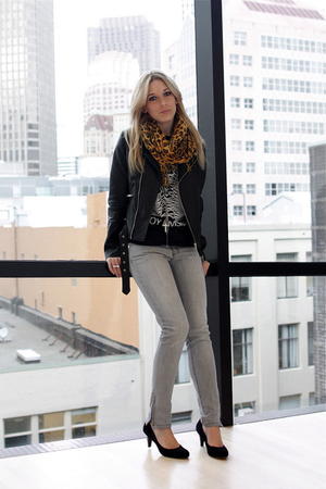 black free people shoes - gray JCrew jeans - black banana republic jacket