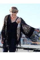 navy Levis jeans - nude sheer kimono Ebay jacket - black bustier Aritzia top - b