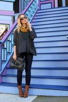 brown Kelsi Dagger boots - navy JBrand jeans - dark green  shirt - black clutch