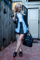 blue shirt - black Steve Madden shoes