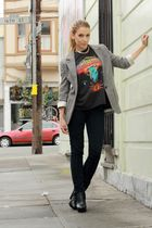black boston vintage t-shirt - black sam edelman shoes - black zoe JBrand jeans